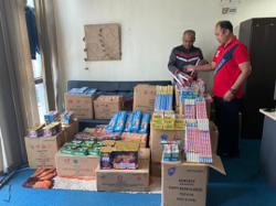 Two arrested, RM25,000 worth of firecrackers and ketum leaves seized at food court in Kg Baru
