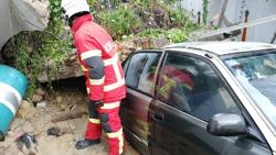 Car destroyed as retaining wall in Penang collapses