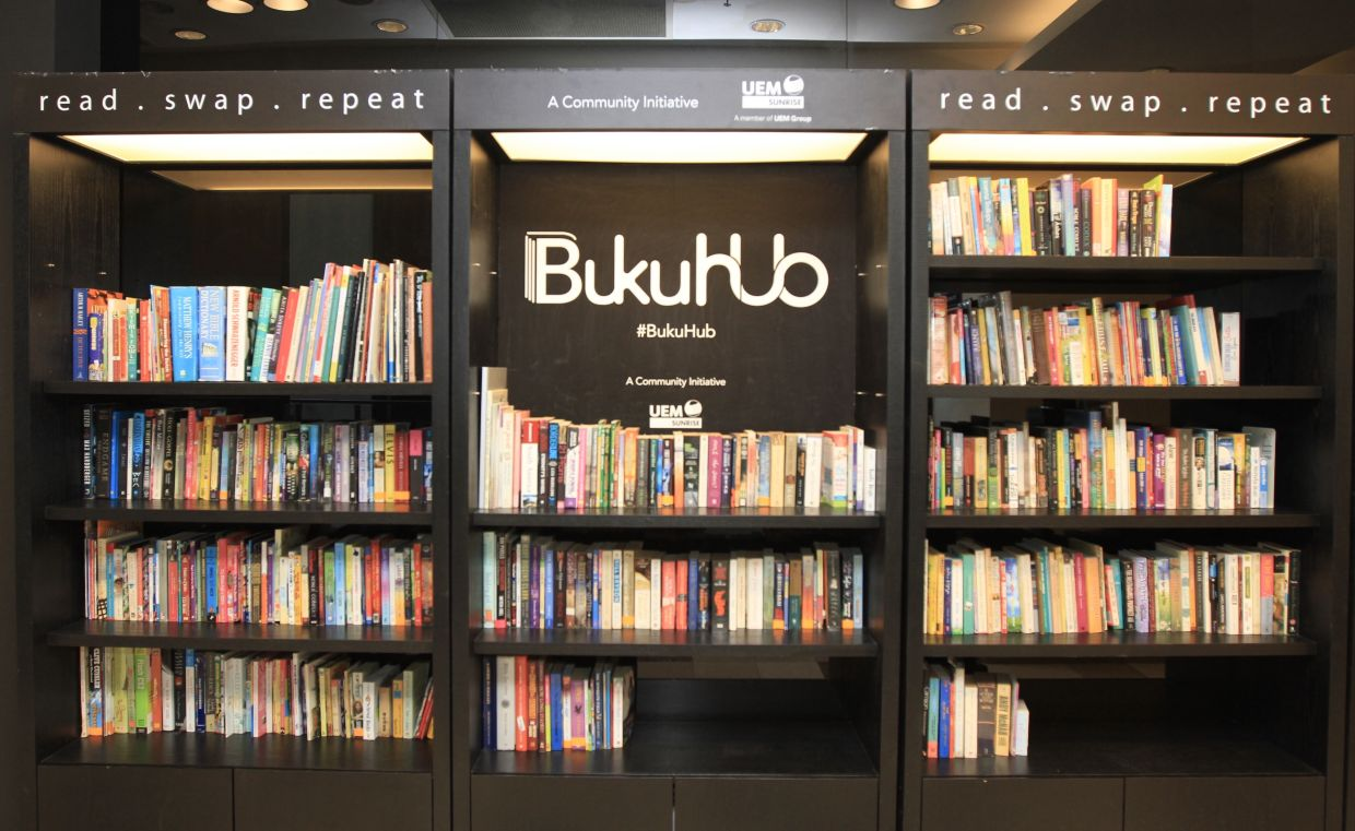 Shoppers can grab a book off the shelves of BukuHub - a book swap station - and return them when they have finish reading it. Even better, you can start your own book swap initiative. Photo: Filepic