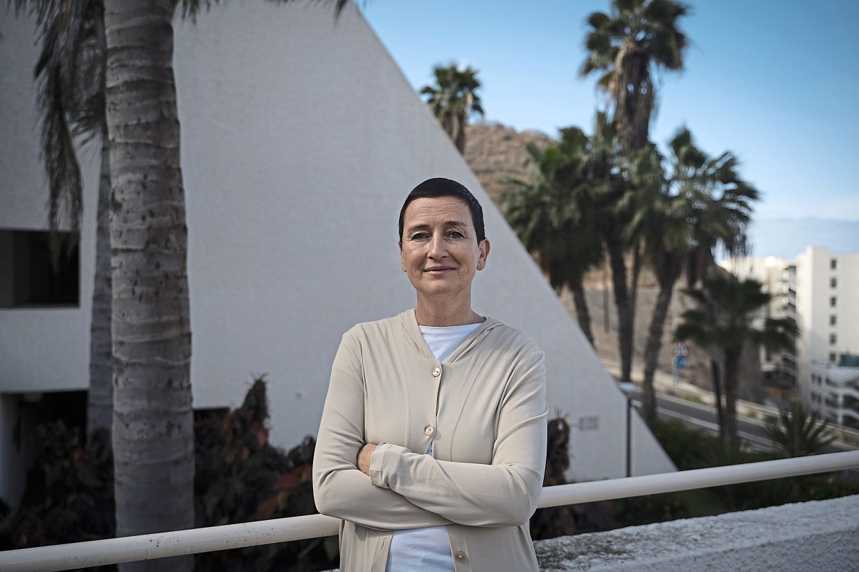 With hundreds of empty rooms, Saetran (pic) and her husband Lucock, who runs the Holiday Club Puerto Calma hotel, decided to reopen their doors at their own expense to young migrants.