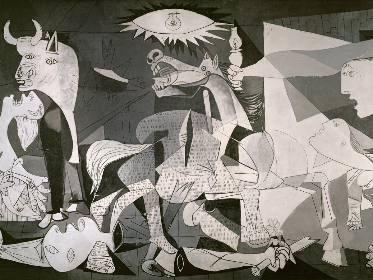 Picasso's immense 1937 cubist painting, which hangs in the Reina Sofia art gallery in Madrid, depicts a harrowing scene of tormented human and animal figures. Photo: Handout