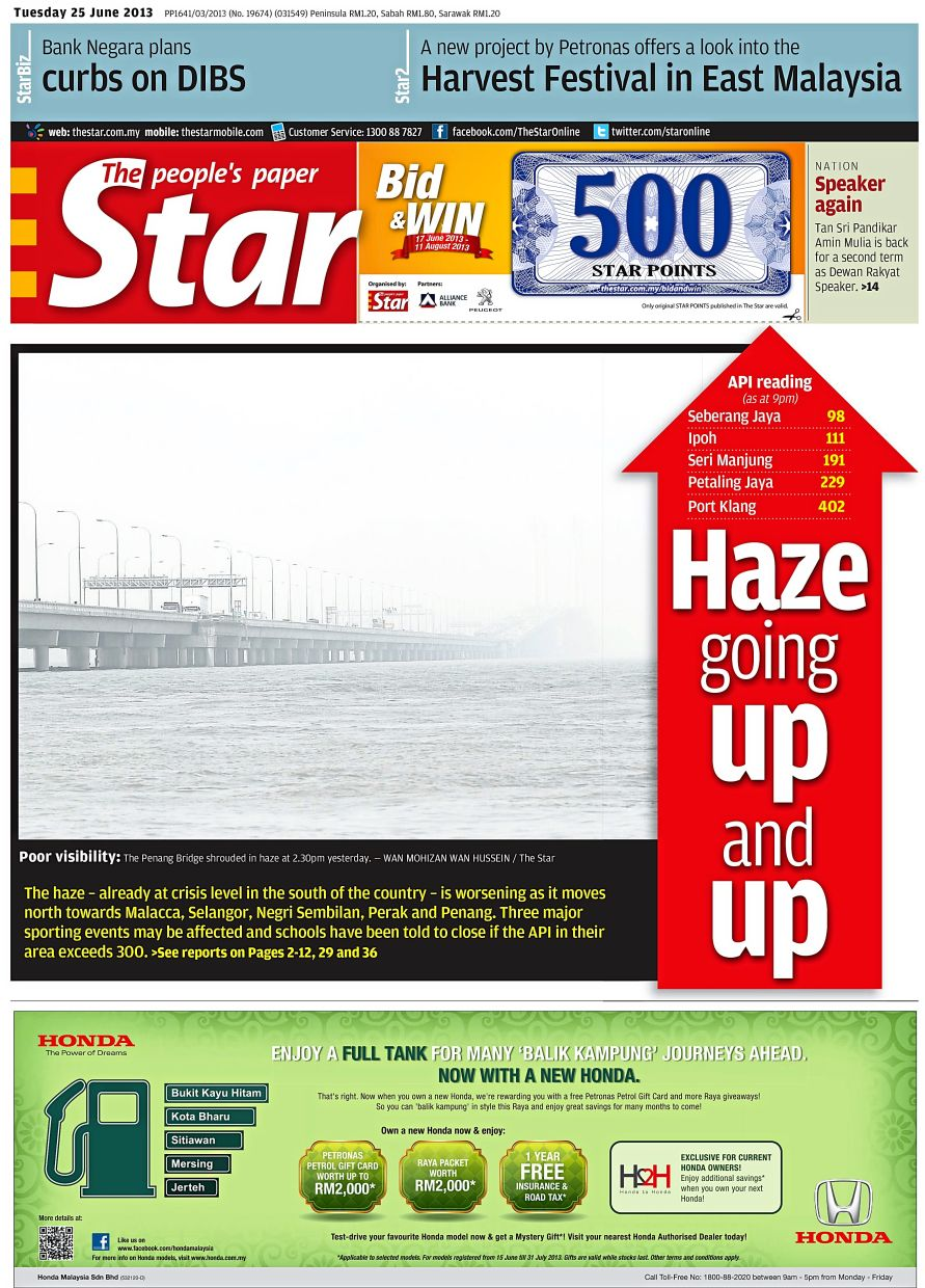 Recurring issue: The Star's front-page report on the haze on June 25, 2013.