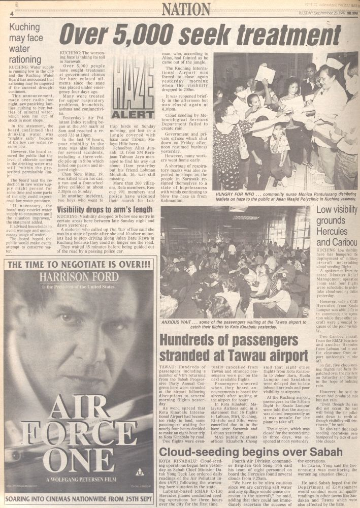 Extreme conditions: The Star's report on the haze in Sarawak in September 1997.