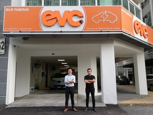 EVC CEO Lee Yuen How (left) with EVC sales manager Kevin Lim at the new EV Charging Experience Centre in Kelana Jaya, Petaling Jaya.