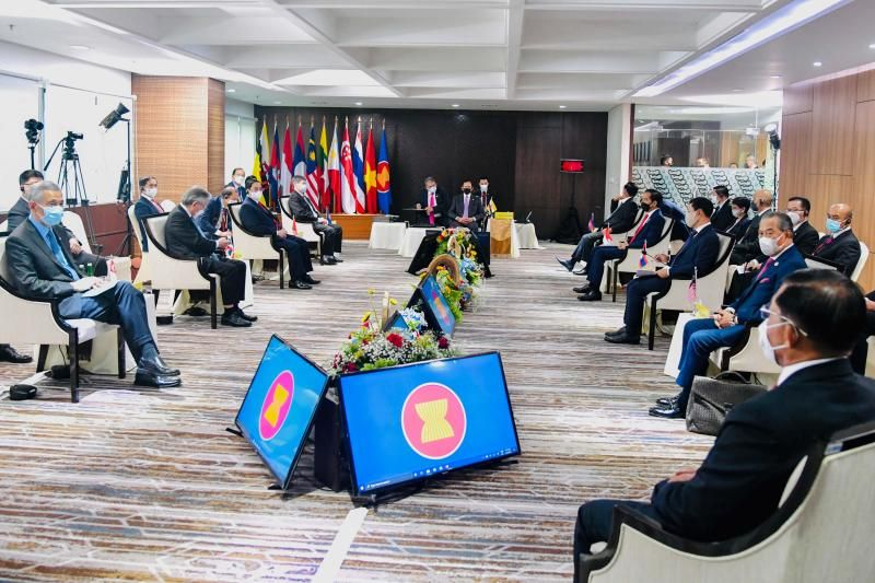 This handout photo taken on April 24, 2021 and released by the Indonesian Presidential Palace shows leaders attending the Association of South-East Asian Nations (Asean) summit on the Myanmar crisis in Jakarta. - Reuters