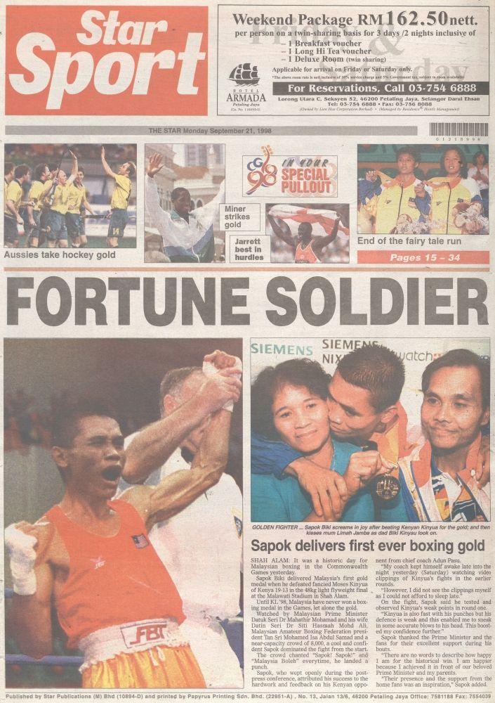 StarSport's headline on Sept 21, 1998;