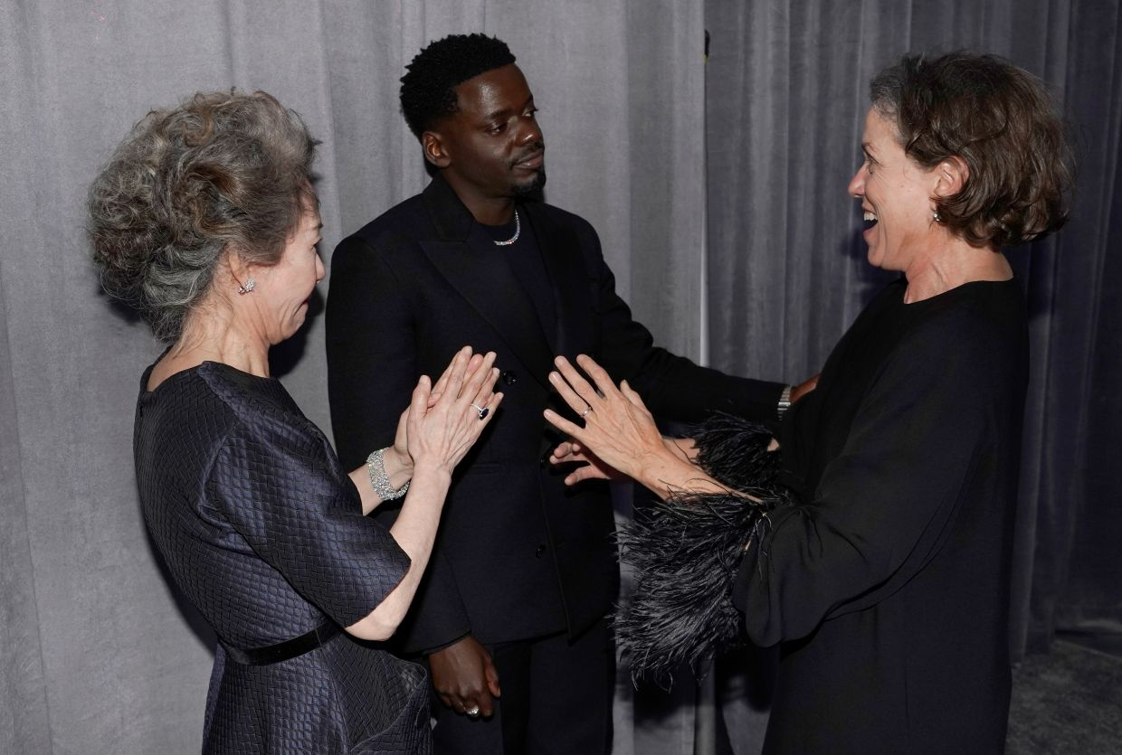Winners all around, (from left) Youn Yuh-Jung, Daniel Kaluuya and Frances McDormand. Photo: Reuters