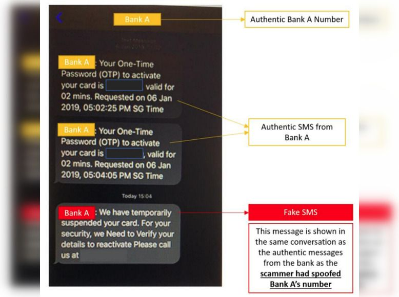 The spoofed messages appear in the same thread as the official messages from local banks. — SINGAPORE POLICE FORCE