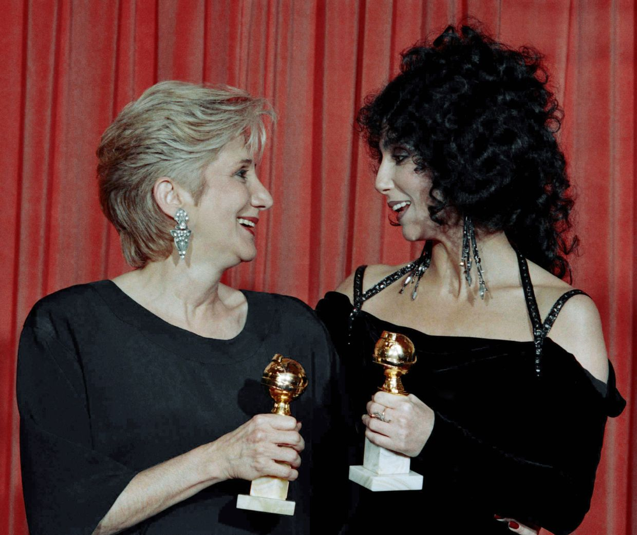 In this Jan. 24, 1988 file photo, Actress Olympia Dukakis, winner of a Golden Globe for