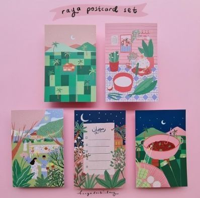 Kirin's new series of Hari Raya postcards. - Photo: bunga dan bintang