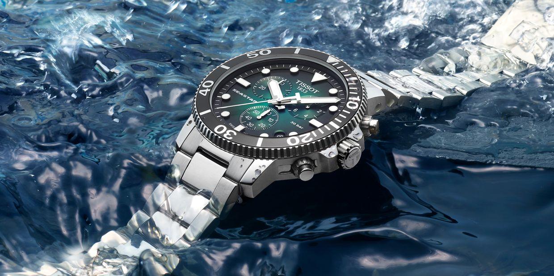 The Tissot Seastar 1000 Chrono has a dark face – a nod to the ocean's mysterious depths.