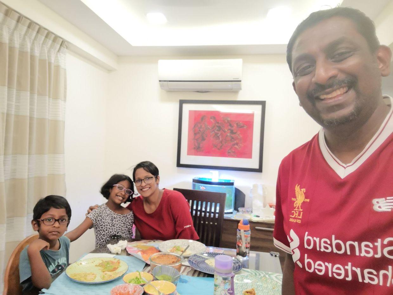 Ashvini's husband Siva takes a family wefie. Photo: Siva Manalan Nadeson