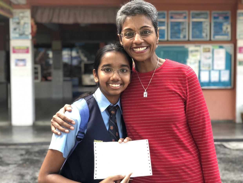 Dhanya (left) with her aunt (Dr Shamala's sister), Dr Damayanthi. Photo: Shamala Durairajanayagam
