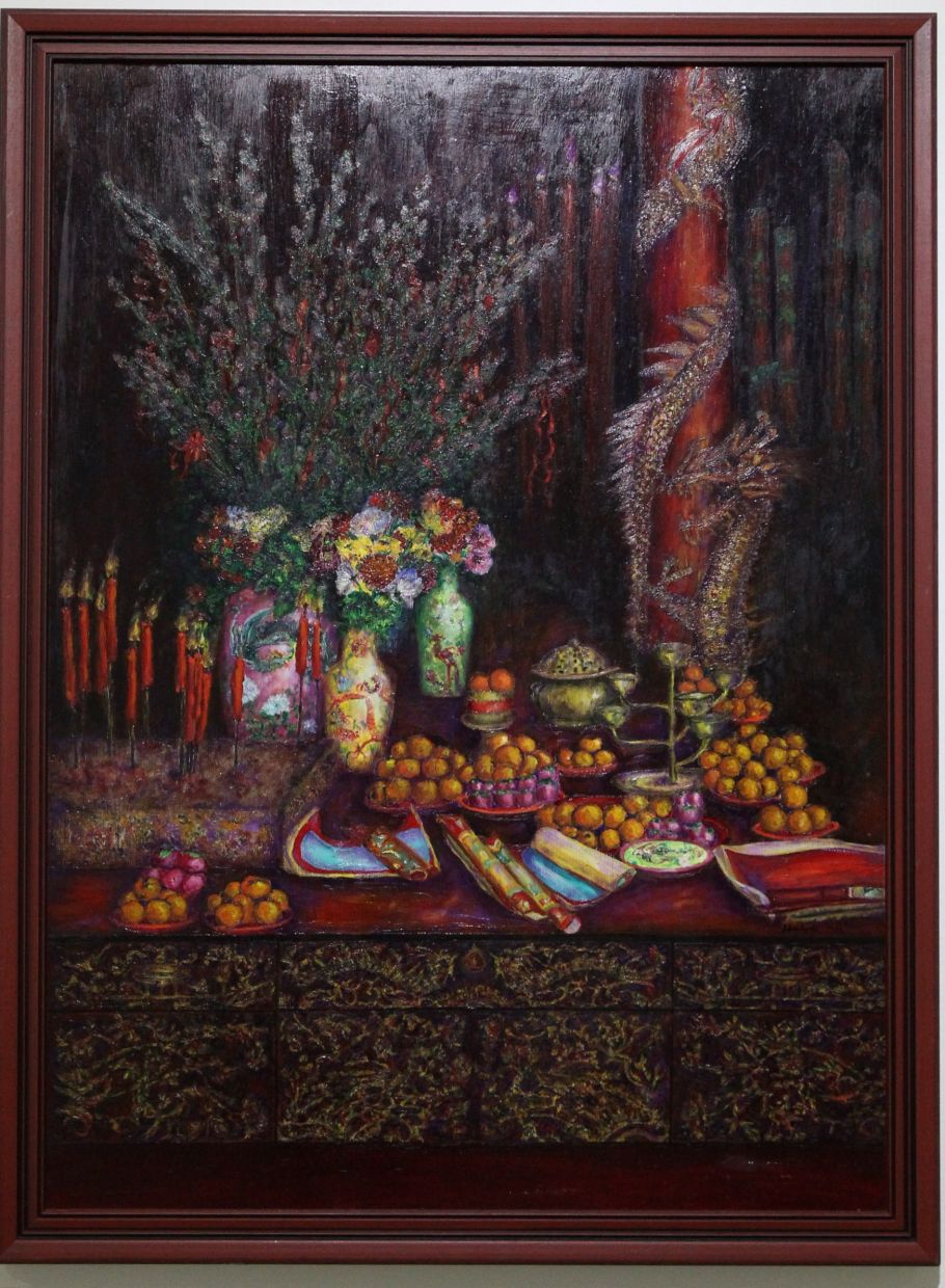 Lee Goh's 'New Year Still Life' (oil on canvas, 1996). One of her eye-catching still life works featured at  the 'Sylvia Lee Goh: Then and Now - The  Enduring Heart' exhibition in 2015 at the National Art Gallery in Kuala Lumpur. Photo: The Star