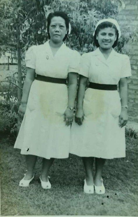 Dawn Usharani Biswas (right) and a colleague in the 1950s. — Sheela Kanagasabai