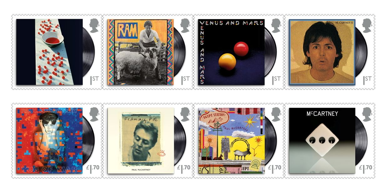 A combination image of eight Royal Mail stamps in the Paul McCartney series showing his various album covers. Photo: Reuters/Royal Mail