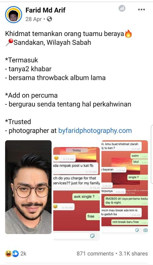 Screen grab of the viral post by Mohammad Farid Md Ariffin, where he joked about offering services to accompany parents for those who could not make it home for Hari Raya.