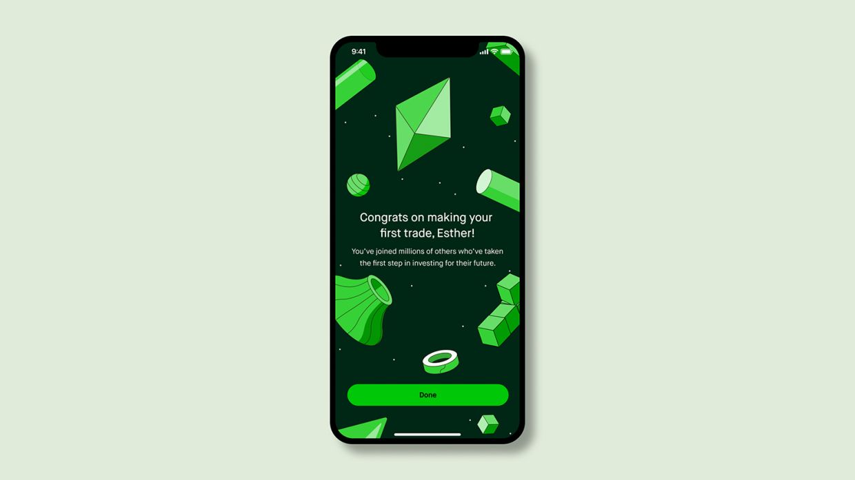Starting March 31, 2021, Robinhood said it will begin retiring the confetti, which was meant to celebrate customers hitting milestones like making their first deposit or enabling new features, to be replaced with a suite of animations that are decidedly more measured in pace. — Robinhood via AP