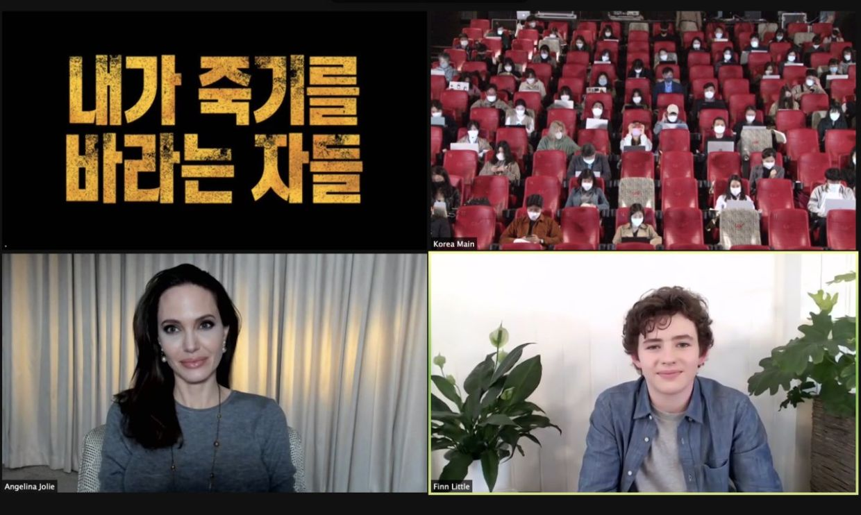 Angelina Jolie and Finn Little attend a video press conference with Korean media. Photo: Warner Bros