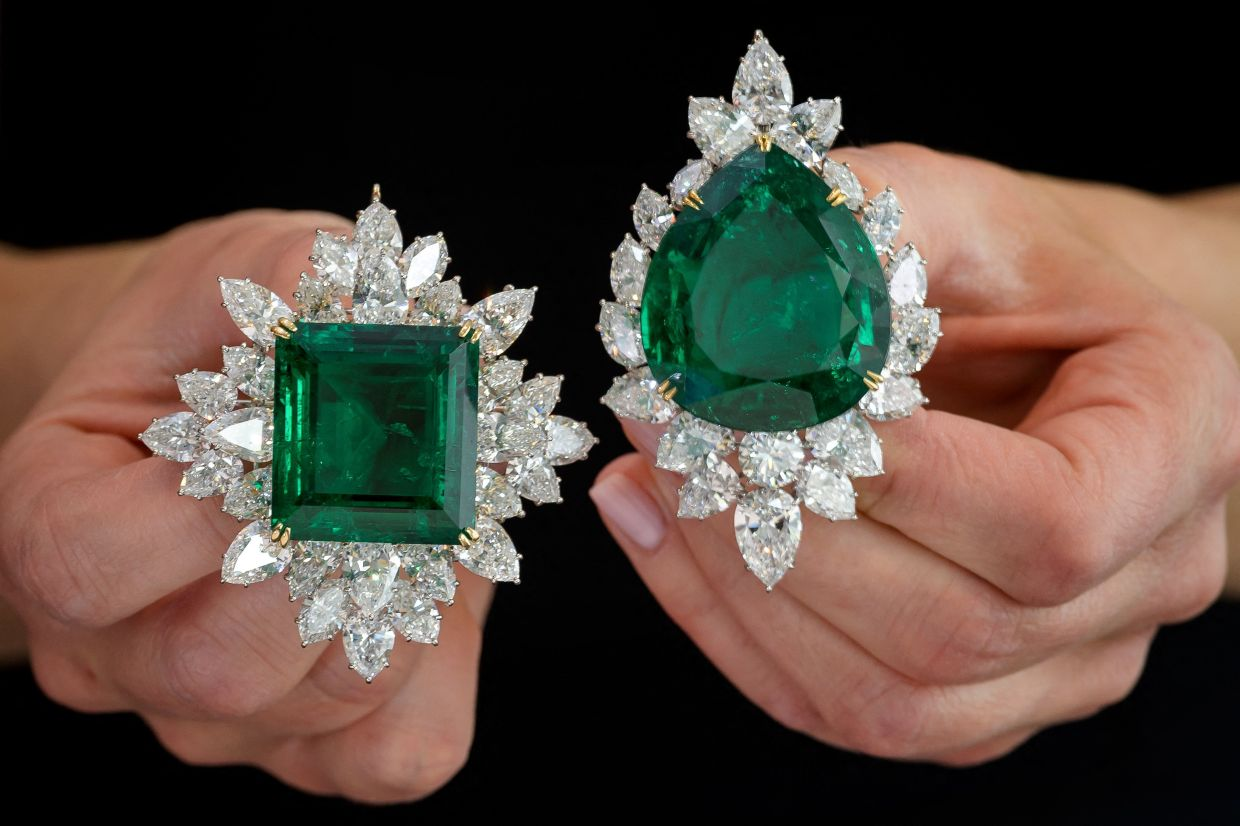 Dazzling Harry Winston jewellery pieces were part of the auction in Geneva. Photo: AFP