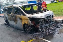 Man escapes in the nick of time as car catches fire