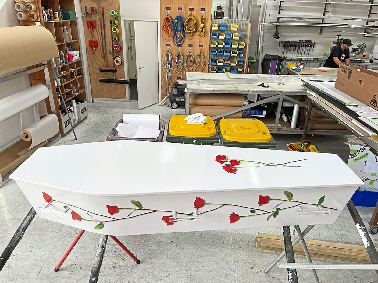 The Auckland company Dying Art makes unique, customised coffins to reflect the people who will later lie in them, be it a love of fire engines, a cream doughnut or Lego.