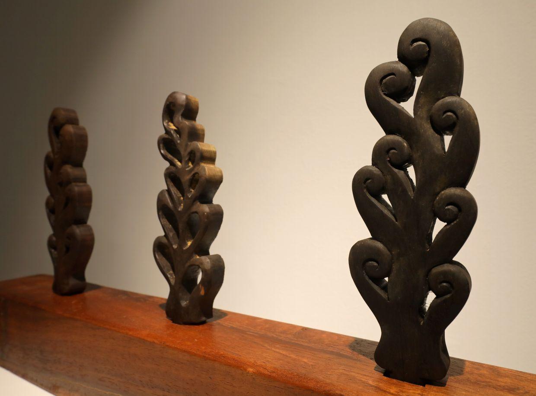 Muhaimin's 'Tepus' collection from the 'Pola Bujang' series made from nyirih batu and balau. Photo: The Star/Samuel Ong