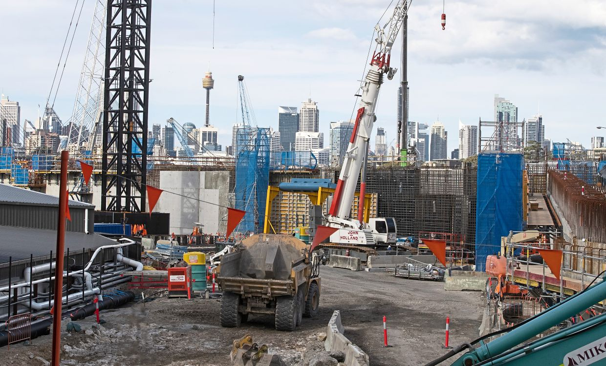 On recovery mode: Heavy machinery work on a major road project in Sydney. The government has released its big-spending economic plan for the next fiscal year designed to create jobs and repair pandemic damage. — AP