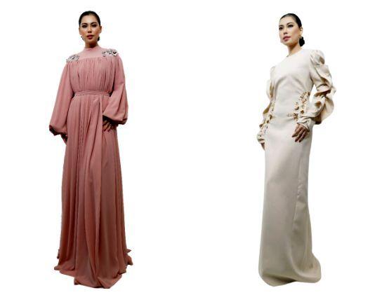 Mabul Dress in Plain Blush Pink (left)  Sibu Dress in Plain Light Nude