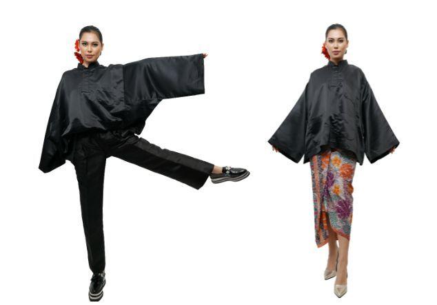 TTFGA Oversize Pants (Black)  (left) TTFGA Baju Melayu Oversize Top (Black)