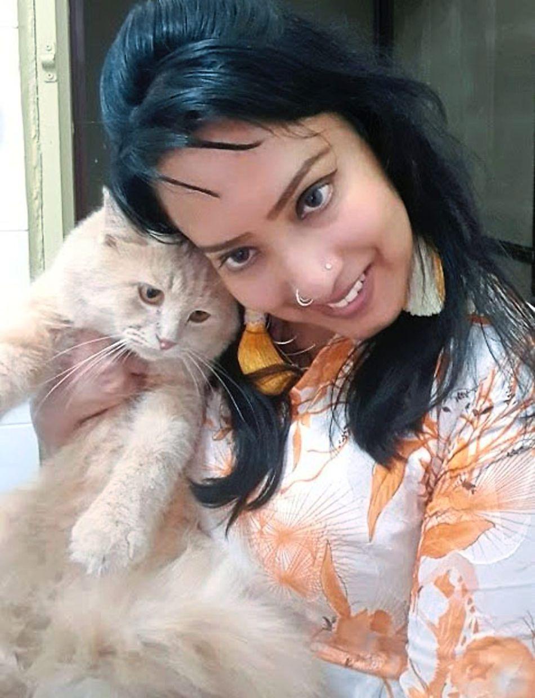 Sarla with her 'boy' Gokul. Photo: N. Sarla Devi
