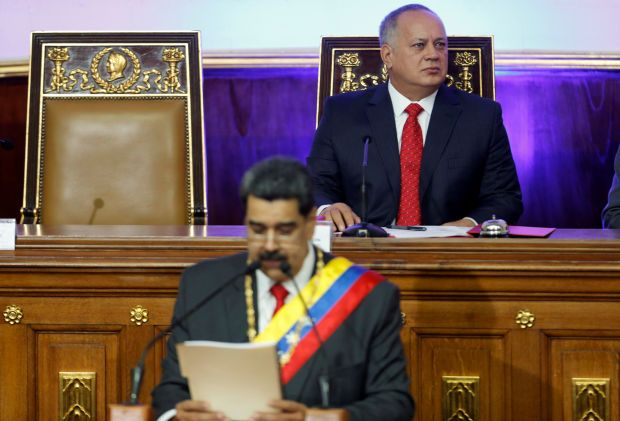 Venezuela's National Constituent Assembly President Diosdado Cabello looks on as President Nicolas Maduro speaks during a special session of the National Constituent Assembly to deliver his annual state of the nation speech, in Caracas, Venezuela January 14, 2020.