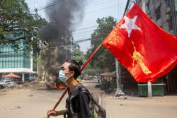 Myanmar anti-coup fighters retreat from town as US makes appeal