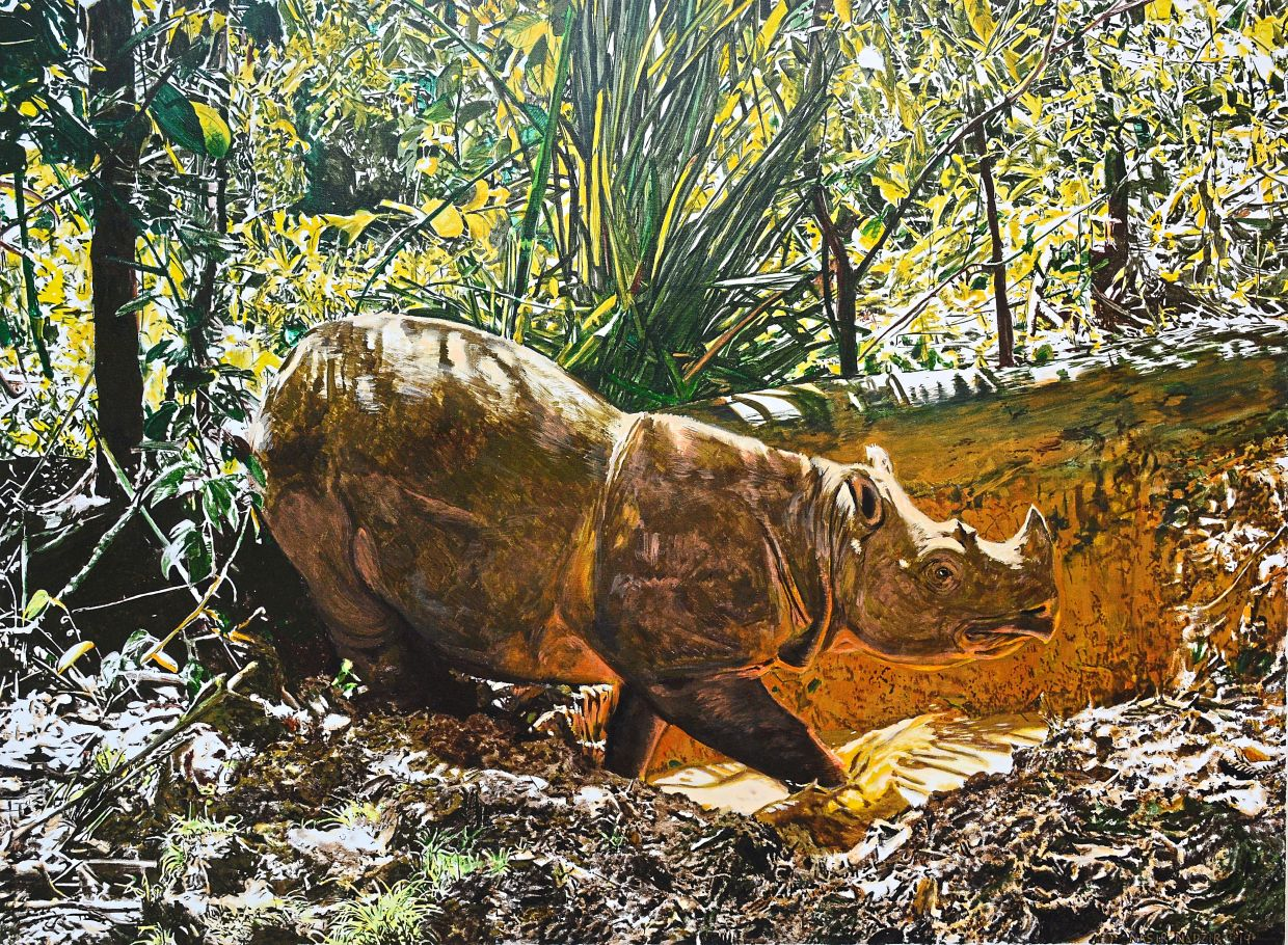 Nasir's 'Tam in Remembrance' depicting the last known male Sumatran rhinoceros in Malaysia.