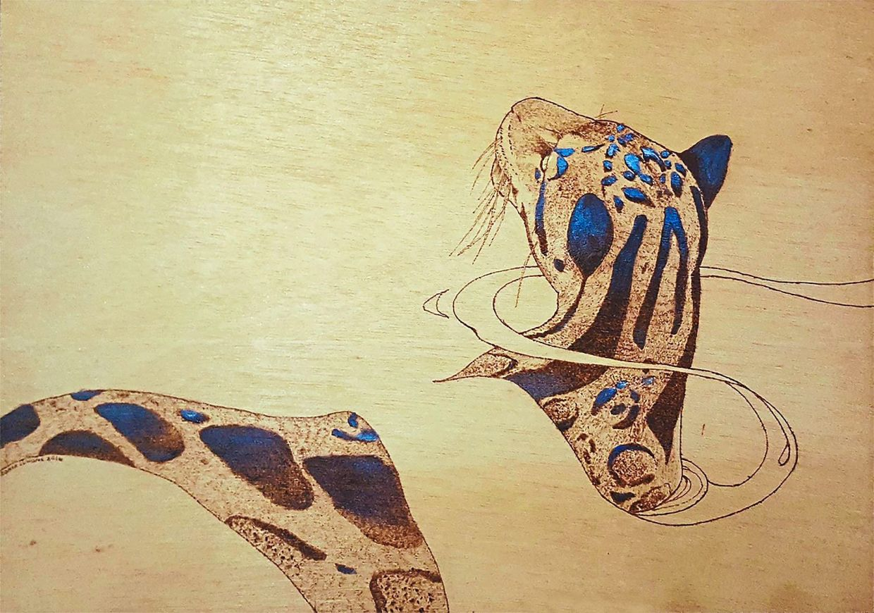 Sonia Luhong's 'Dream II' (pyrography and acrylic on plywood, 2016). Photo: Handout