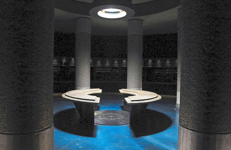 Sala de degustación de vinos en Diamondus, una bodega en el Valle Yugo del Departamento de San Carlos de Mendoza.