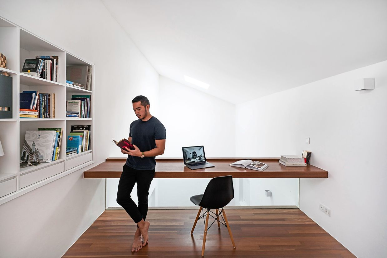 Some significant additions to the Ottiqa House are the accessible rooftop, skylight and loft that is used as a study, as seen here.