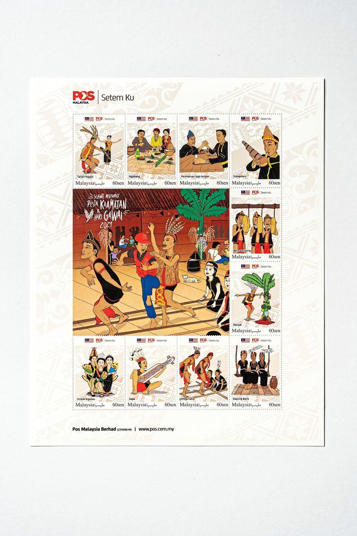 Pos Malaysia's harvest festival stamp series artwork by Sarawakian artist/illustrator Joseph Romey Dures. Photo: Pos Malaysia