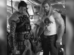 Chris Hemsworth shows off huge biceps as Thor: Love And Thunder wraps filming