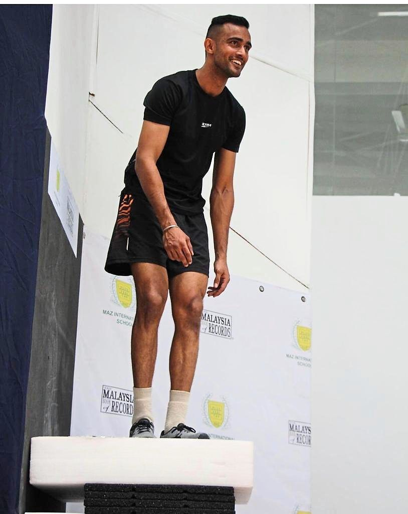 Setting a benchmark: Harinder Sekhon set a new standing jump on one leg world record with a leap of 1.384m.