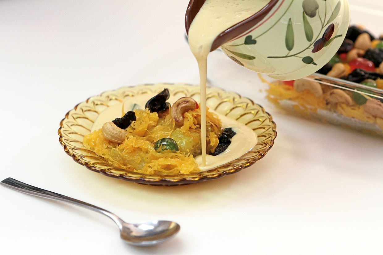 Serve puding raja cold with the custard sauce poured generously over just before eating.
