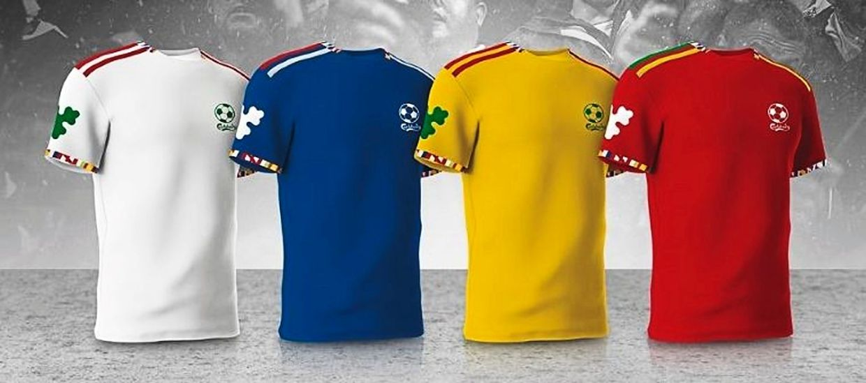 The football T-shirts come in collectible designs inspired by the flags of four countries.