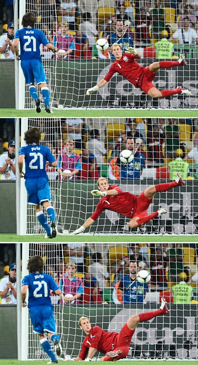 A picture combo showing Italy's Andrea Pirlo scoring with a 'Panenka' past England goalkeeper Joe Hart in their Euro 2012 quarter-final shootout.