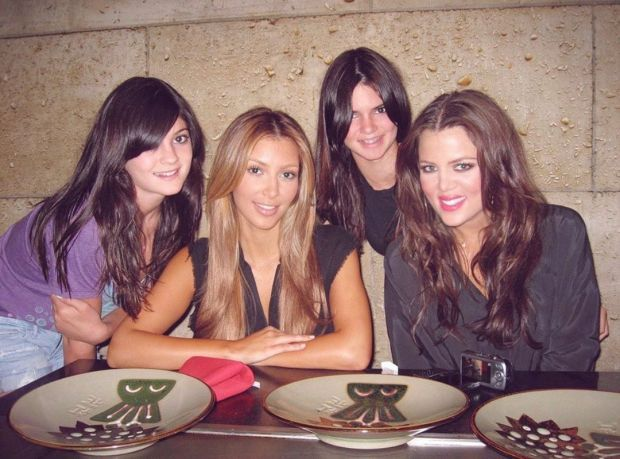 The Kardashian and Jenner girls look different here in this throwback photo. Photo: Kim Kardashian/Instagram