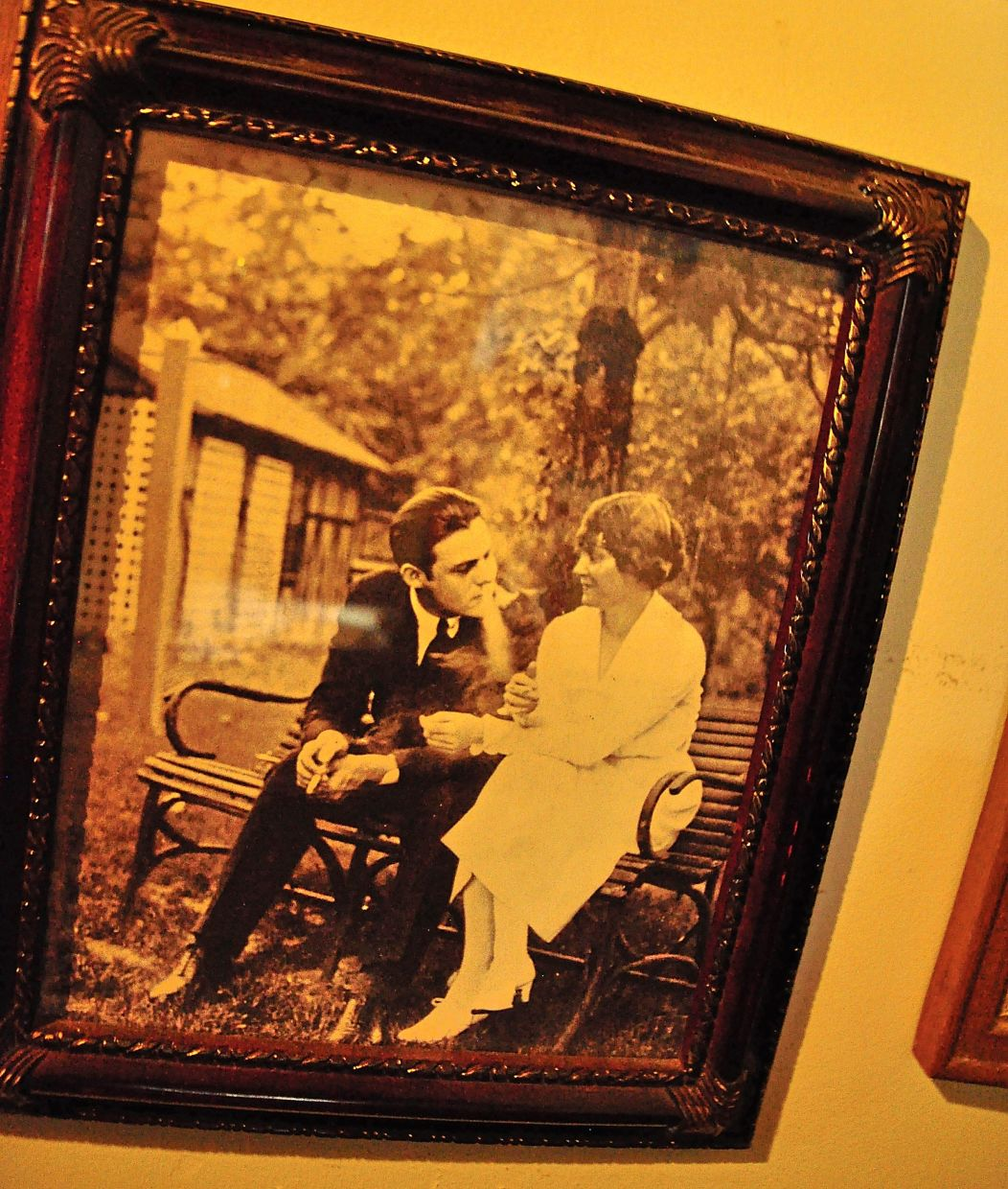 A photo of Hemingway and his first wife, Elizabeth, hanging in the Horton Bay General Store. They were married in a church next door in 1921.