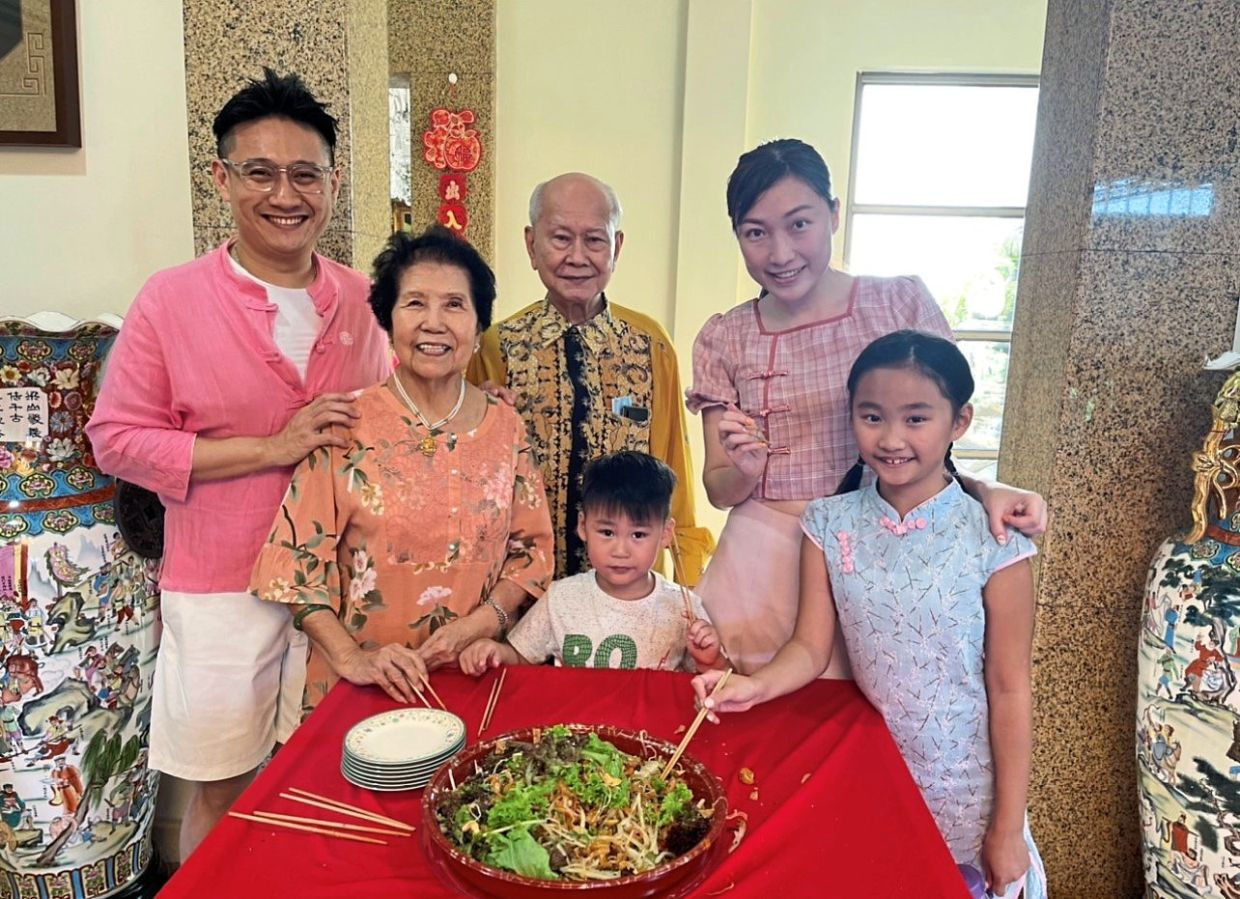 Ng is very careful about the health and safety of his grandparents (who live with him) and young children so he rarely leaves the house for grocery runs and prioritises healthy, home-cooked meals. From left: Ng, Datin Chan Lai Har, Datuk Ng Tiong Seng, Raydence, Chong and Rayanne. — RAYMOND NG