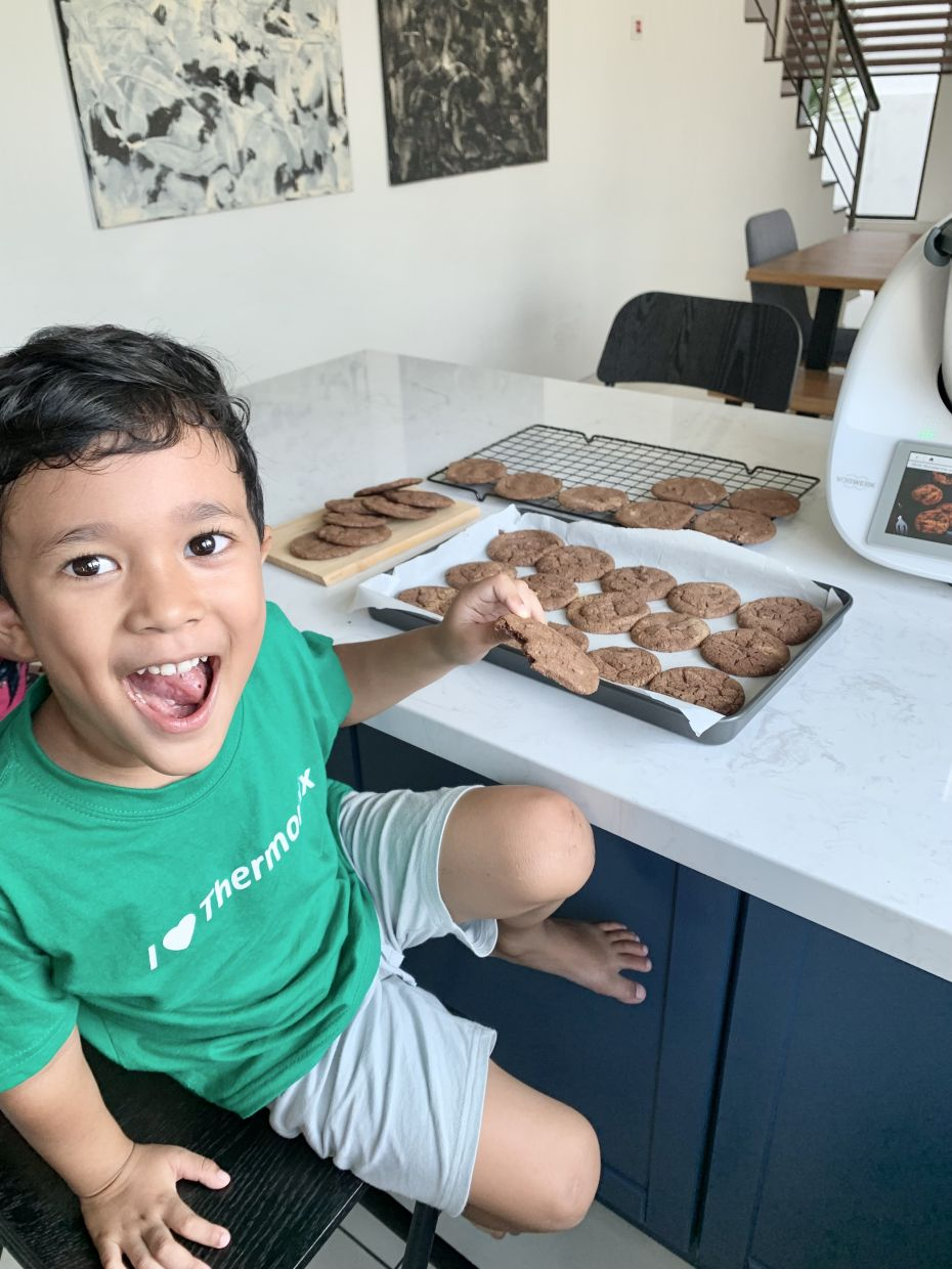 Ezrin's son Mika Danial loves helping her prepare the family's healthy snacks and meals. — EZRIN NIK ISMAIL