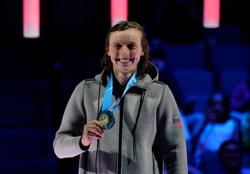 Olympics-Ledecky takes care of business, books ticket to Tokyo