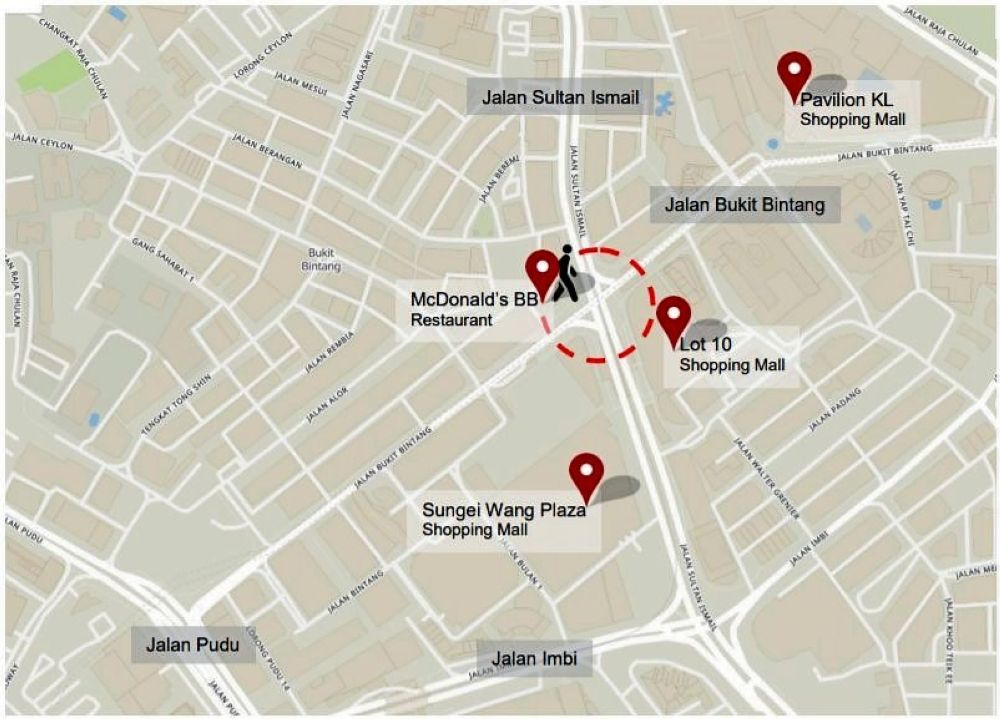 Location of the new scramble pedestrian crossing at the intersection of Jalan Bukit Bintang and Jalan Sultan Ismail.