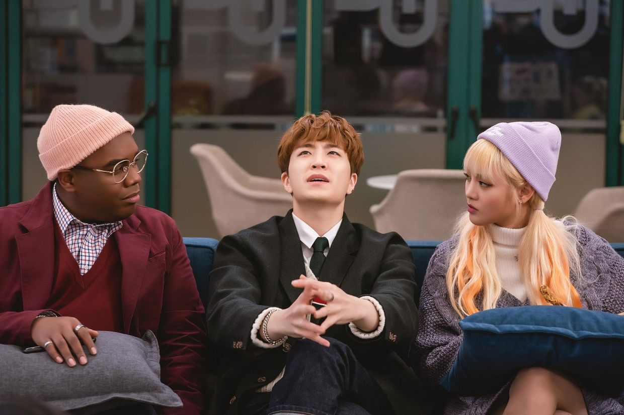 Choi Young-jae (centre) with co-stars Terris Brown (left) and Minnie (of (G)I-DLE).